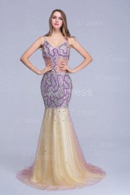 Gorgeous Spaghetti Strap Mermaid Evening Dress UK Sweep Train_5