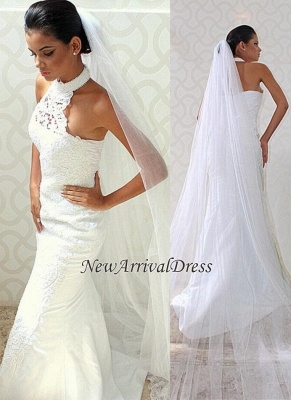 Sexy Mermaid  Court-train Sleeveless Chic Halter Lace Wedding Dress_2