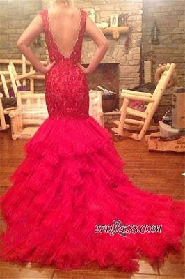 Tiered V-Neck Sleeveless Mermaid Beadings Red Prom Dress UK_2