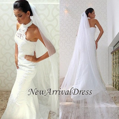 Sexy Mermaid  Court-train Sleeveless Chic Halter Lace Wedding Dress_1