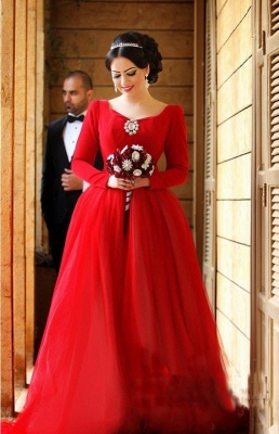Newest Long Sleeve Tulle Red Wedding Dress Bowknot Long Train_1