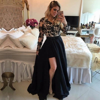 Elegant Black Long Sleeve Evening Dress UK | 2019 Lace Prom Dress UK On Sale_3
