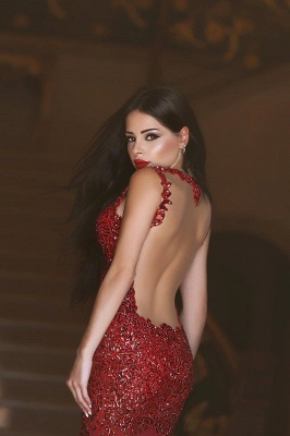 Gorgeous Red Mermaid Sequins Prom Dress UK Appliques Sweep Train_5