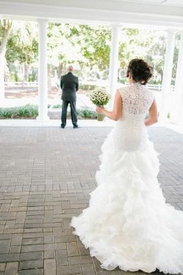 Newest Lace Ruffles Tulle Sexy Mermaid Wedding Dress Cap Sleeve_3