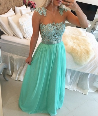 Gorgeous Chiffon Long Prom Dress UK With Pearls And Lace BT0_2