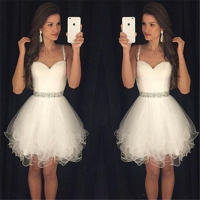 Modern Spaghetti Strap Crystal Homecoming Dress UK Mini Sleeveless White AP0 ly0105_3