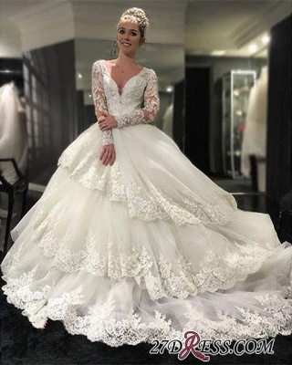 Lace-Appliques Long-Sleeve Three-Layers Delicate Ball-Gown Wedding Dress_1
