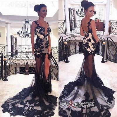 Elegant black lace prom Dress UK,sheer-skirt party Dress UK BK0_1