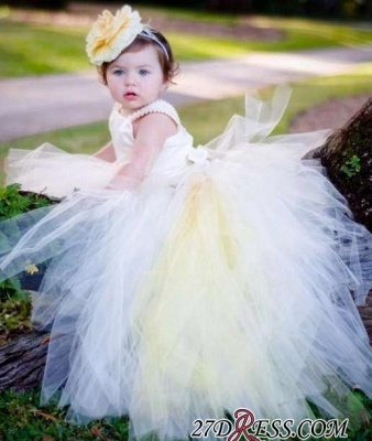 Sleeveless Scoop Tull Flower-Girl-Dresses Ball-Gown Pearls Pageant-Dress_3