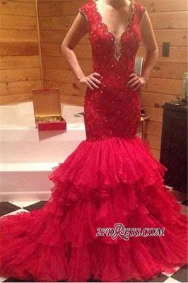 Tiered V-Neck Sleeveless Mermaid Beadings Red Prom Dress UK_3
