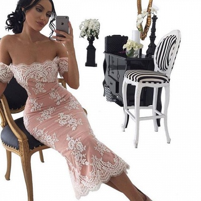 Elegant Tea-Length Bodycon Lace Off-the-shoulder Prom Dress UK_3