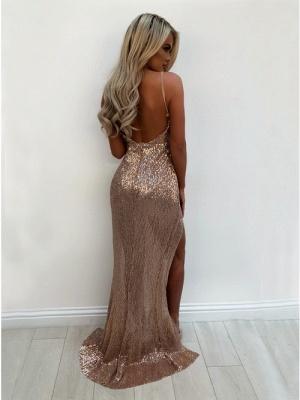 Elegant V-Neck Sequins Prom Dress UK | Long Evening Party Gowns With Split BA9873_3