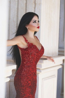 Gorgeous Red Mermaid Sequins Prom Dress UK Appliques Sweep Train_3