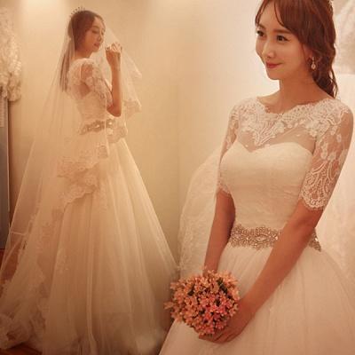 Elegant Half-Sleeve Tulle Lace Wedding Dresses UK A-Line With Crystal_3