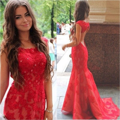 Elegant Red Lace Appliques Mermaid Evening Dress UK Sweep Train Jewel_1