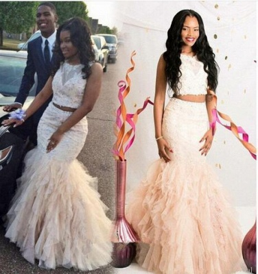 Luxury Two Pieces Mermaid Prom Dress UKes UK Appliques Beaidngs Tulle_3