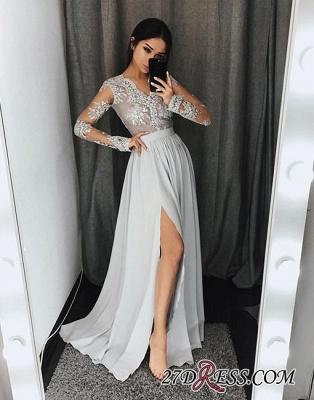 Lace Split-front Long-sleeve Gray Stylish A-line Evening Dress UK_1