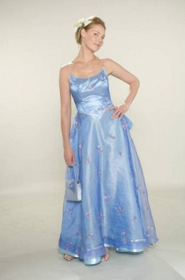 Spaghetti Bridesmaid Dress UKes UK for Sale Sexy Blue Straps Flowers A-line Tulle Satin Bridesmaid Dress UK for_1
