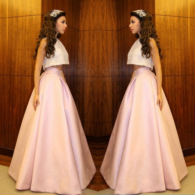 Delicate Beadings Two Piece Prom Dress UK A-line Floor-length_3