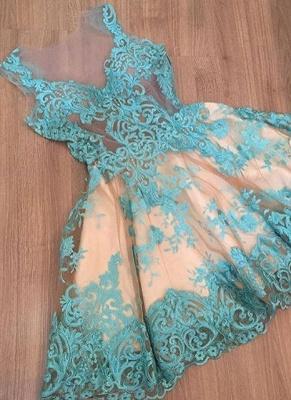 Elegant A-Line Homecoming Dress UKes UK | Lace V-Neck Sleeveless Cocktail Dress UKes UK_1