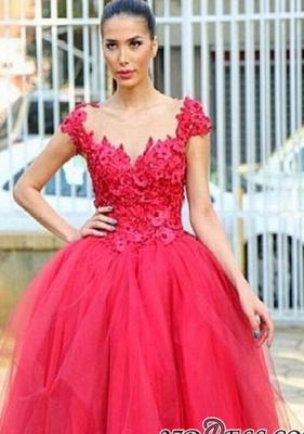 Flowers Cap-Sleeves Tired Pearls High-Low Ball-Gown Evening Dress UK_2