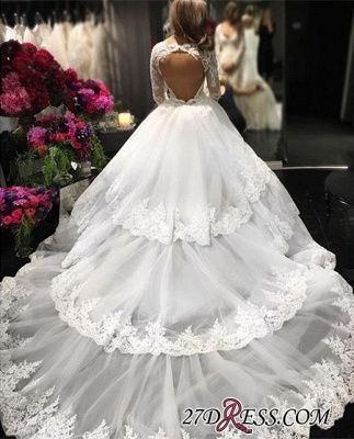 Lace-Appliques Long-Sleeve Three-Layers Delicate Ball-Gown Wedding Dress_2