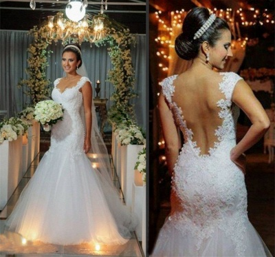 Modern Tulle Lace Appliques Sexy Mermaid Wedding Dress Sweep Train_4