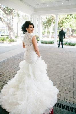 Newest Lace Ruffles Tulle Sexy Mermaid Wedding Dress Cap Sleeve_5