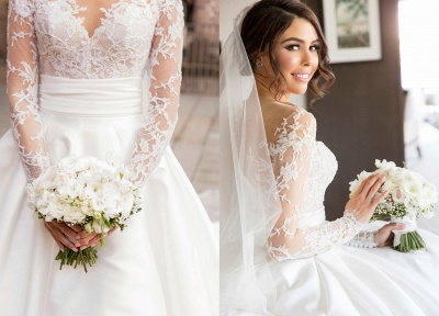 Sexy Mermaid Lace Appliques Wedding Dress Front Split Sweep Train_4