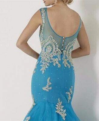 Mermaid Appliques Sleeveless Scoop Red Tulle Prom Dress UK BA4560_3
