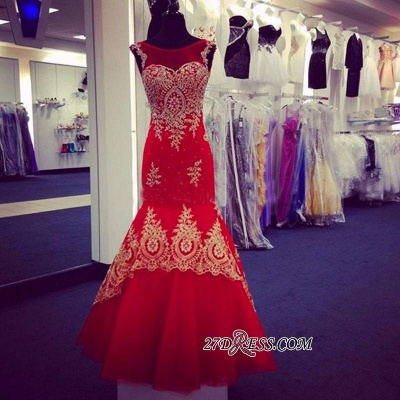 Mermaid Appliques Sleeveless Scoop Red Tulle Prom Dress UK BA4560_2