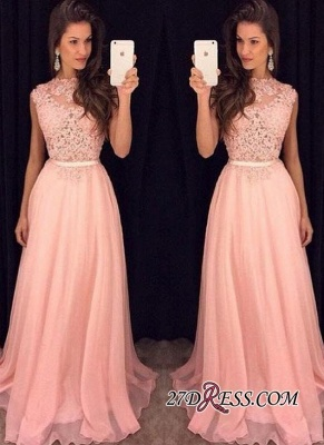 Sexy Lace Sheer Sash Pink Long Sleeveless with Prom Dress UKes UK AP0 BA3242_2