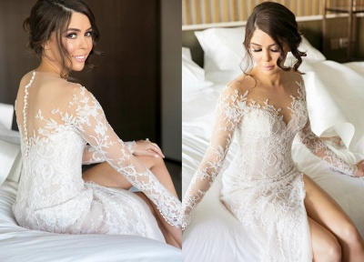 Sexy Mermaid Lace Appliques Wedding Dress Front Split Sweep Train_5