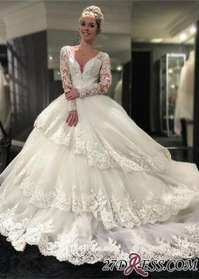 Lace-Appliques Long-Sleeve Three-Layers Delicate Ball-Gown Wedding Dress_3