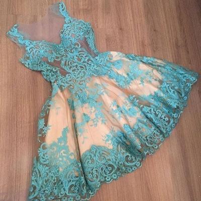Elegant A-Line Homecoming Dress UKes UK | Lace V-Neck Sleeveless Cocktail Dress UKes UK_3