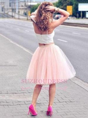 White Elegant Tulle Pink Spaghetti-Strap Sleeveless Two-Piece-Homecoming-Dress UK_1