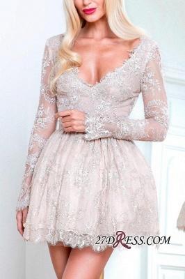 Short Champagne Long-Sleeve Lace Homecoming Dress UKes UK_3