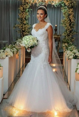 Modern Tulle Lace Appliques Sexy Mermaid Wedding Dress Sweep Train_1