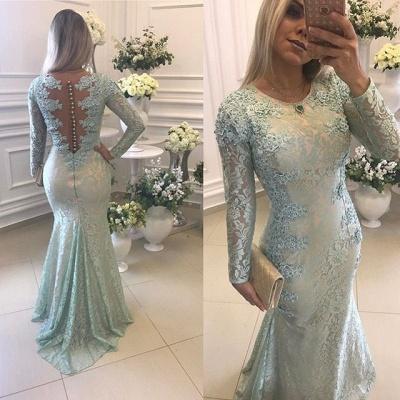 Gorgeous Long Sleeve Lace Evening Dress UK Mermaid Zipper Button Back Long Party Dress UK BMT BA9342_3