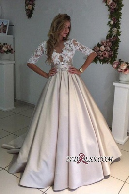 Puff Illusion A-Line Elegant Half-Sleeves Appliques Lace Wedding Dress BA9024_2