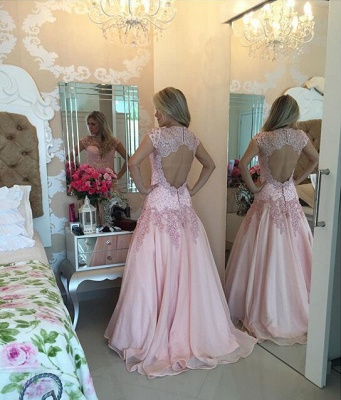 Delicate Pink Lace Appliques Prom Dress UK Sweep Train_2
