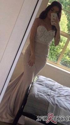Beading Lace Pink Sweetheart-Neck Mermaid Pearls Prom Dress UKes UK LY201_1