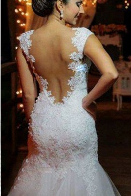 Modern Tulle Lace Appliques Sexy Mermaid Wedding Dress Sweep Train_2