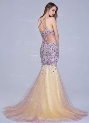 Gorgeous Spaghetti Strap Mermaid Evening Dress UK Sweep Train_3