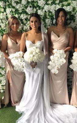 Sexy Spaghetti-Strap V-Neck Long Bridesmaid Dress UK On Sale With Slit_2