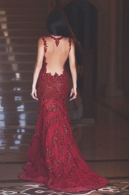 Gorgeous Red Mermaid Sequins Prom Dress UK Appliques Sweep Train_2