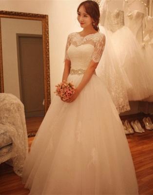 Elegant Half-Sleeve Tulle Lace Wedding Dresses UK A-Line With Crystal_1