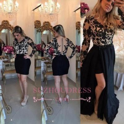 Short Black Detachable-Skirt Appliques Long-Sleeves Sheath Homecoming Dress UKes UK BA4100_1