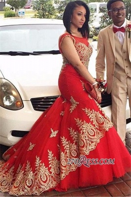 Mermaid Appliques Sleeveless Scoop Red Tulle Prom Dress UK BA4560_4