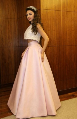 Delicate Beadings Two Piece Prom Dress UK A-line Floor-length_5